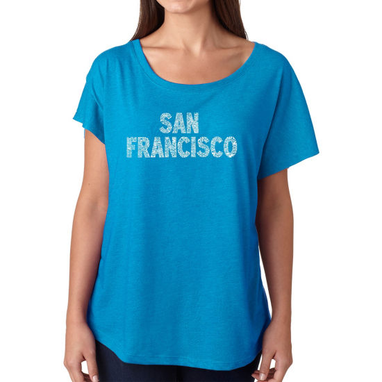 Los Angeles Pop Art Women's Loose Fit Dolman Cut Word Art Shirt - SAN FRANCISCO NEIGHBORHOODS
