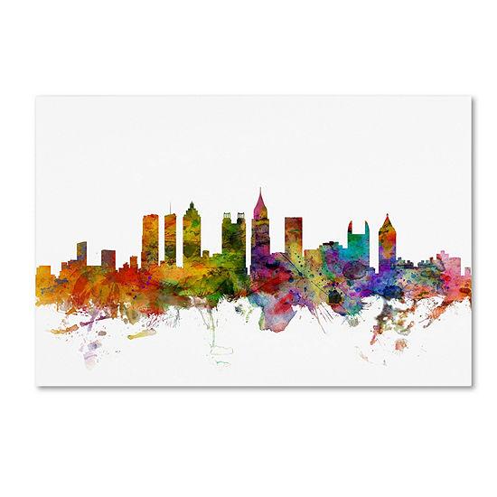 Trademark Fine Art Michael Tompsett Atlanta Georgia Skyline Giclee Canvas Art