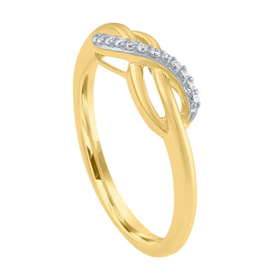 Womens White Diamond 10K Gold Cocktail Ring