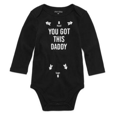 "Okie Dokie ""You Got This Daddy"" Long Sleeve Slogan Bodysuit - Baby NB-24M"
