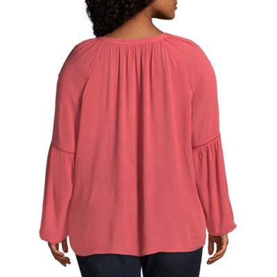 St. John's Bay® Long Sleeve Blouse With Tassels - Plus
