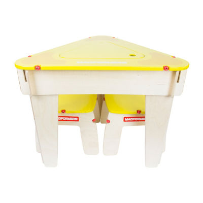 Magformers Yellow Triangle Wood Table Set