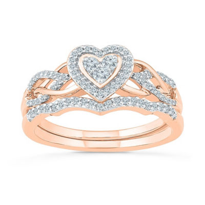 Womens 1/3 CT. T.W. White Diamond 10K Rose Gold Bridal Set