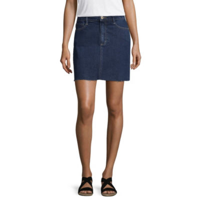 Arizona Womens Mid Rise Midi Denim Skirt-Juniors