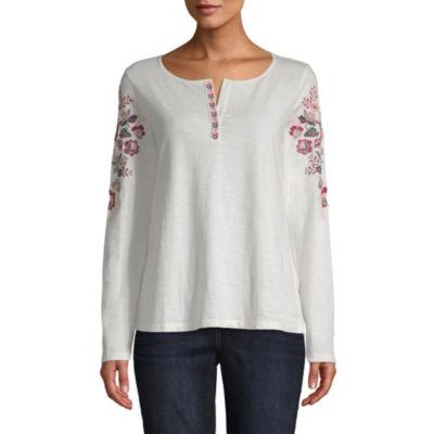 St. John's Bay-Womens Split Neck Long Sleeve T-Shirt
