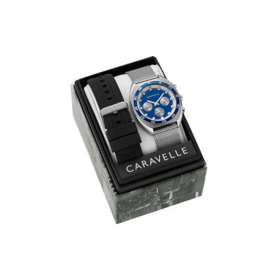 Caravelle Mens Silver Tone Bracelet Watch-43k100