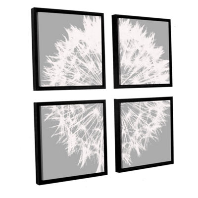 Dandelion 7 4-pc SquareFloater-Framed Gallery Wrapped Canvas Set