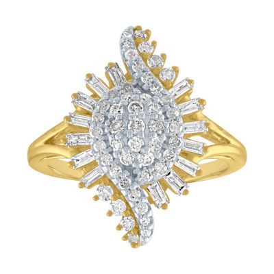 Womens 7/8 CT. T.W. White Diamond 10K Gold Cocktail Ring