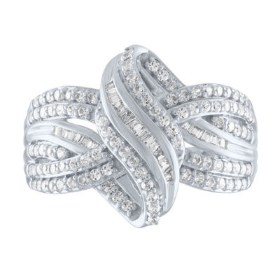 Womens 1/2 CT. T.W. Genuine White Diamond 10K White Gold Cocktail Ring