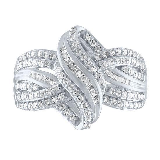 Womens 1/2 CT. T.W. Genuine White Diamond 10K White Gold Cocktail Ring