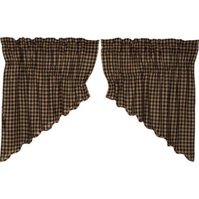 Primitive Window Black Check Scalloped Prairie Swag Pair