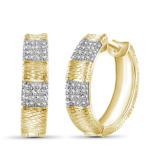 Diamond Accent White Diamond 14K Gold Over Brass 19.1mm Round Hoop Earrings