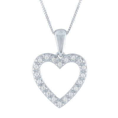 Womens Genuine White Diamond 10K Gold Heart Pendant Necklace