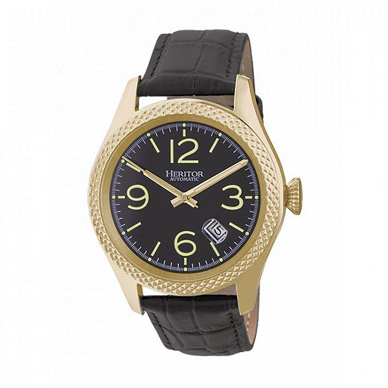 Heritor Unisex Adult Automatic Black Leather Strap Watch-Herhr7104