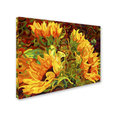 Trademark Fine Art Mandy Budan Four Sunflowers Giclee Canvas Art