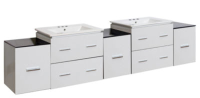 88.5-in. W Wall Mount White Vanity Set For 3H4-in.Drilling