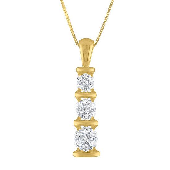 Diamond Blossom Womens 1/5 CT. T.W. Genuine White Diamond 10K Gold Pendant Necklace