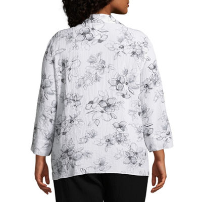 Alfred Dunner Barcelona Etched Floral Print Layered Blouse - Plus