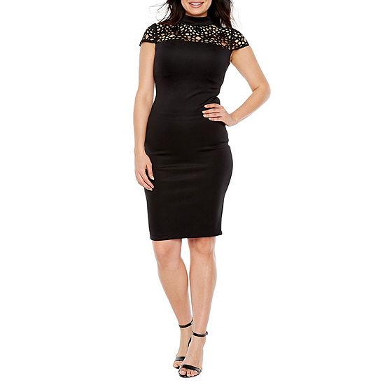 Premier Amour Short Sleeve Midi Sheath Dress