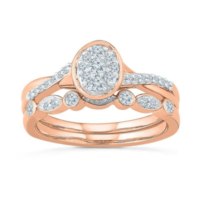 Womens 1/3 CT. T.W. White Diamond 10K Rose Gold Bridal Set