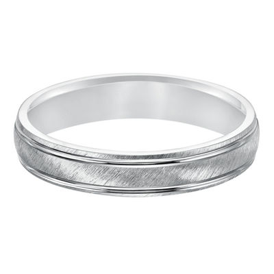 Unisex 4mm 14K White Gold Wedding Band