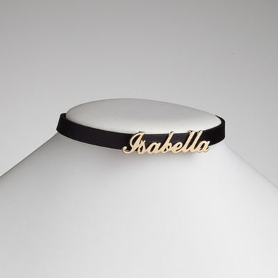 Personalized Womens 14K Gold Over Silver Choker Necklace