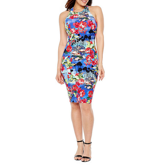 Premier Amour Sleeveless Floral Midi Sheath Dress