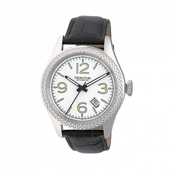 Heritor Unisex Automatic Black Leather Strap Watch-Herhr7101