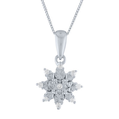 Womens Diamond Accent Genuine White Diamond 10K White Gold Pendant Necklace