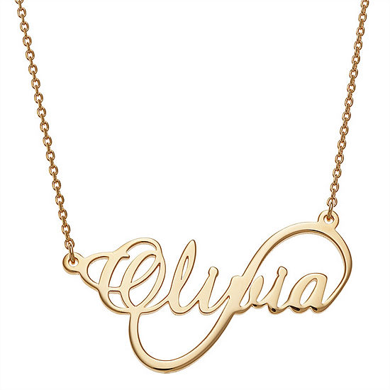 Personalized Womens 14K Gold Over Silver Infinity Pendant Necklace