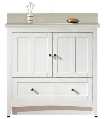 36-in. W Floor Mount White Vanity Set For 1 Hole Drilling Beige Top White UM Sink