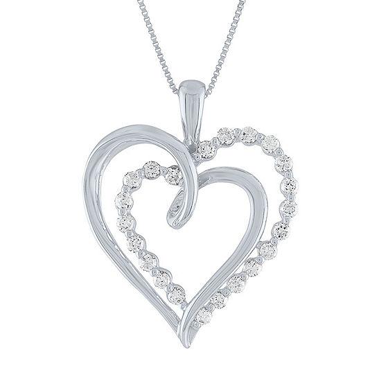 Womens 1/4 CT. T.W. Genuine White Diamond 10K White Gold Heart Pendant Necklace