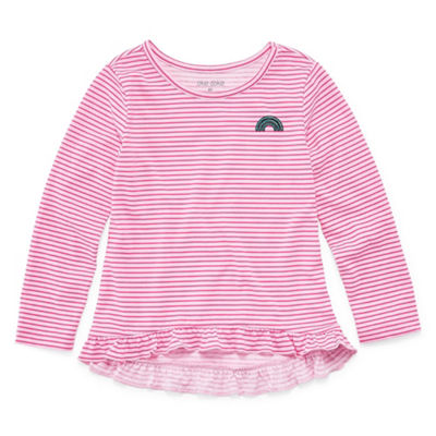 Okie Dokie Long Sleeve Round Neck T-Shirt-Toddler Girls