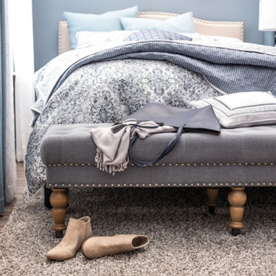 Tufted & Nailhead Accent Bench