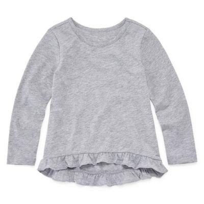Okie Dokie Long Sleeve Round Neck T-Shirt-Toddler Girls
