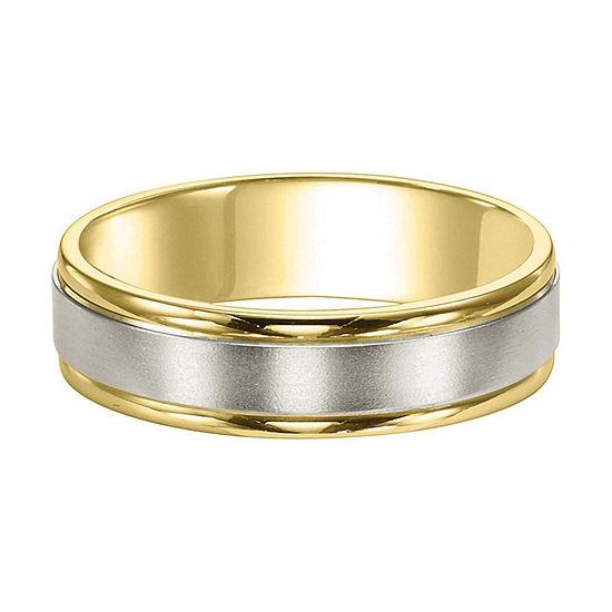 Unisex 6mm 14K Two Tone Gold Wedding Band
