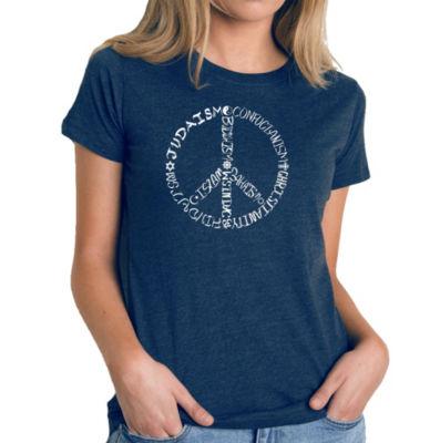 Los Angeles Pop Art Women's Premium Blend Word ArtT-shirt - Different Faiths peace sign