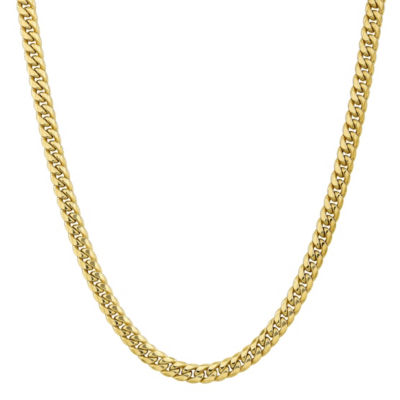 10K Gold Hollow Curb 20 Inch Chain Necklace