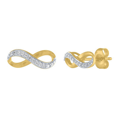 Genuine White Diamond 10K Gold 10.5mm Stud Earrings
