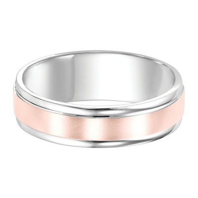 Unisex 7mm 14K Two Tone Gold Wedding Band