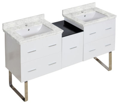 61.5-in. W Floor Mount White Vanity Set For 1 HoleDrilling Bianca Carara Top White UM Sink