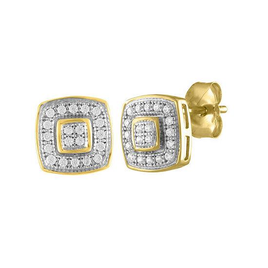 Diamond Accent Genuine White Diamond 10K Gold 7.5mm Stud Earrings
