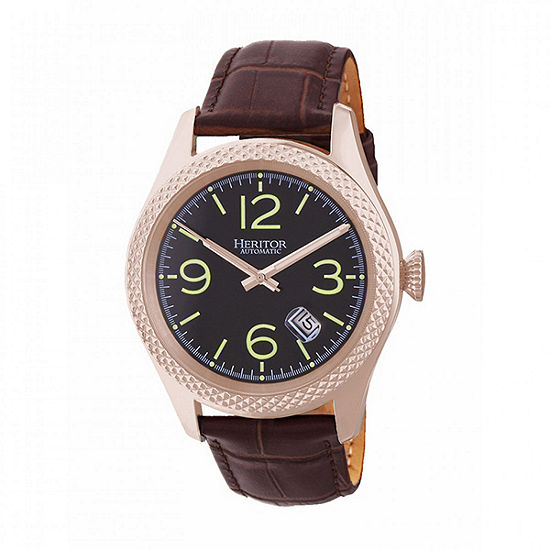 Heritor Unisex Adult Automatic Brown Leather Strap Watch-Herhr7107