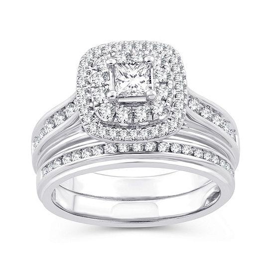 Womens 1 1/10 CT. T.W.  Genuine White Diamond 10K Gold Engagement Ring