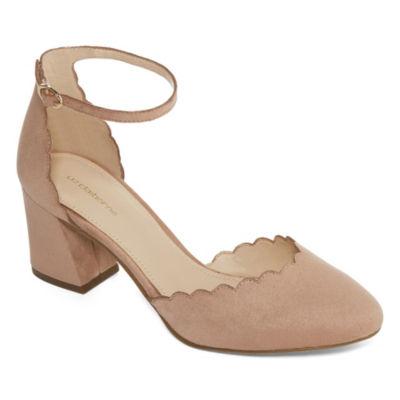 Liz Claiborne Celina Womens Pumps Buckle Pointed Toe Block Heel