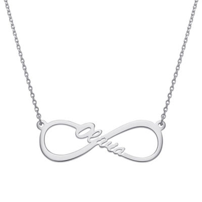 Personalized Womens Sterling Silver Infinity Pendant Necklace