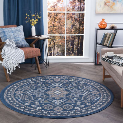 Tayse Logan Traditional Oriental Round Area Rug