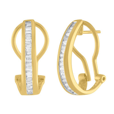 1/2 CT. T.W. Genuine White Diamond 10K Gold 20mm Hoop Earrings