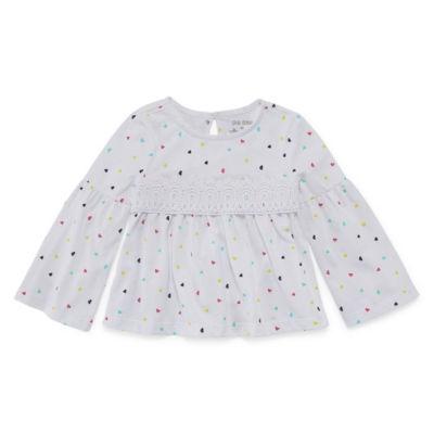 Okie Dokie Crew Neck Long Sleeve Bell Sleeve Blouse - Toddler Girls