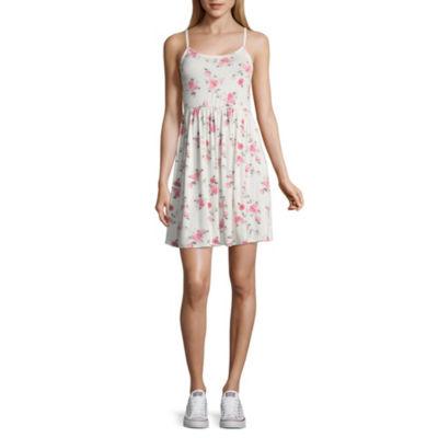 Arizona Sleeveless Floral Swing Dresses-Juniors